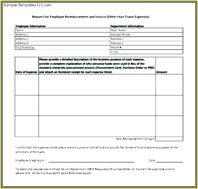 Travel Expenses Reimbursement Form Template