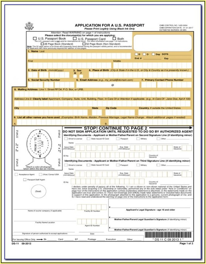 United States Government Passport Renewal Form