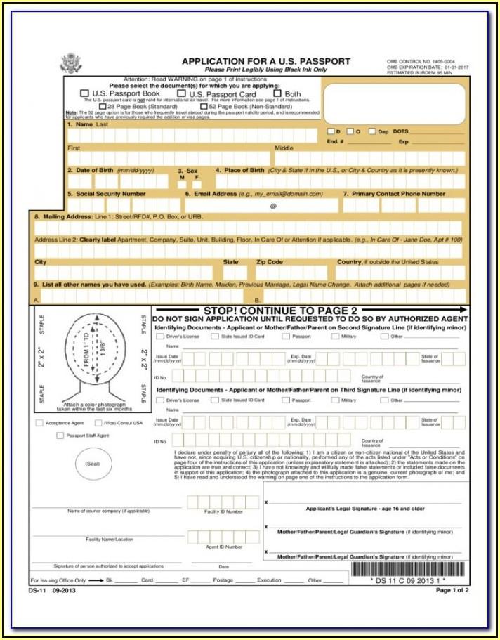 United States Government Passport Renewal Form