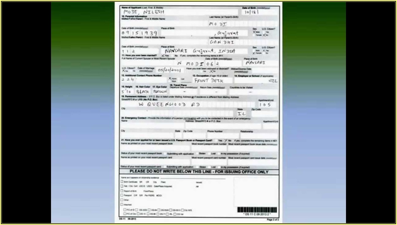 United States Passport Renewal Form Ds 82