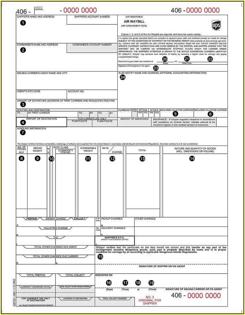 Ups Bill Of Lading Template
