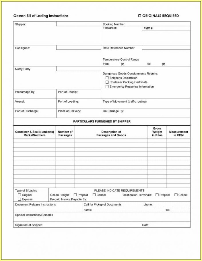 Ups Freight Straight Bill Of Lading Form