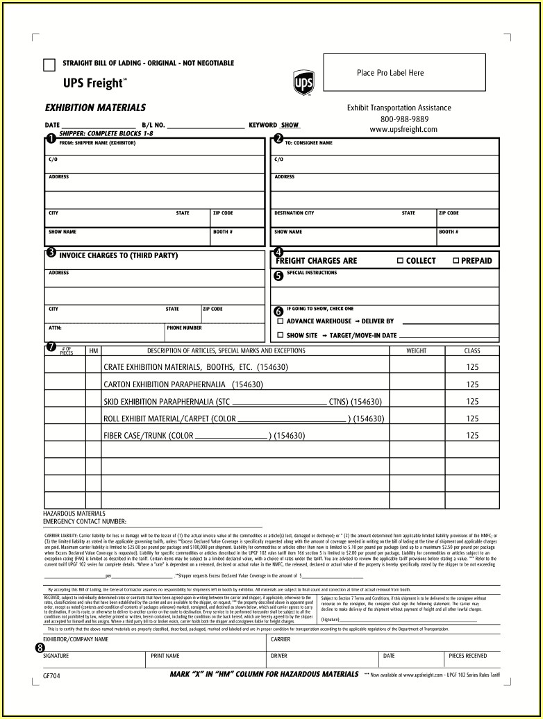 Ups International Bill Of Lading Form