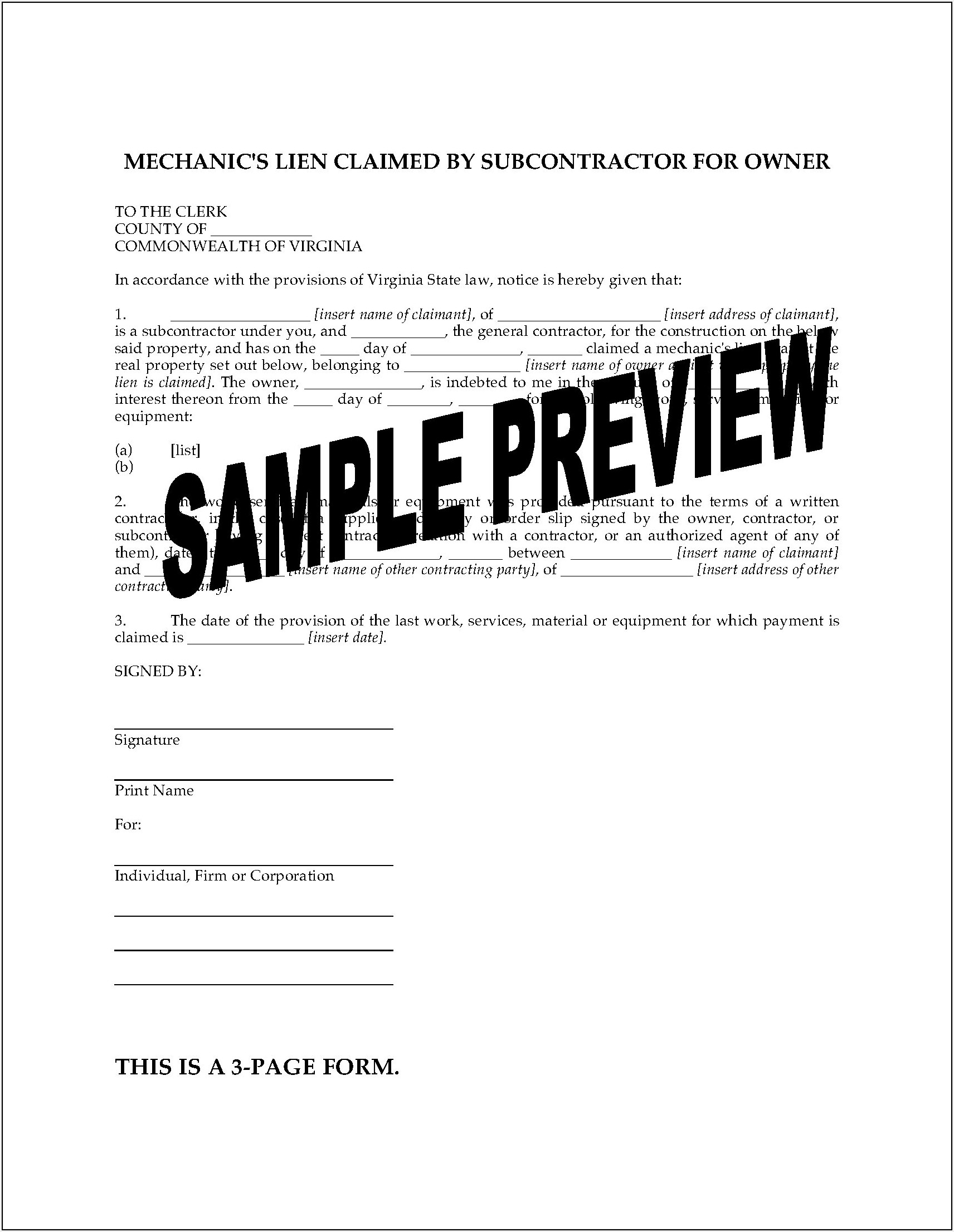 Virginia Mechanics Lien Notice Form