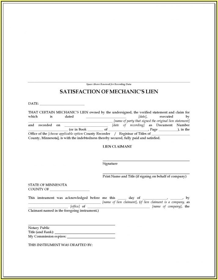 Virginia Mechanic's Lien Release Form