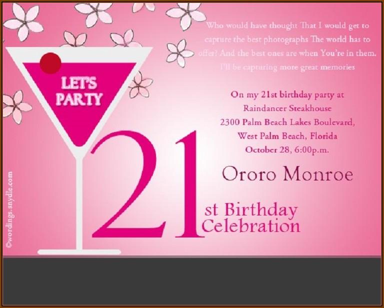 21st Birthday Invitation Templates Editable