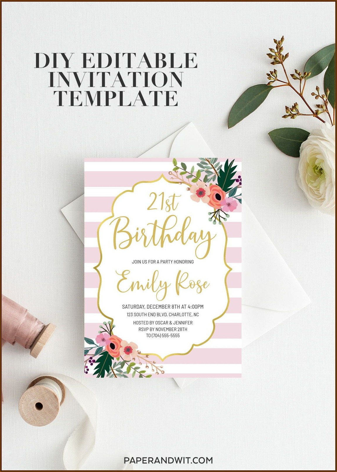 21st Birthday Invitation Templates For Her