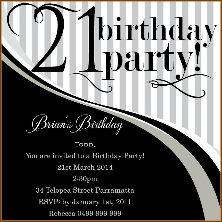 21st Birthday Invitation Templates Free Online