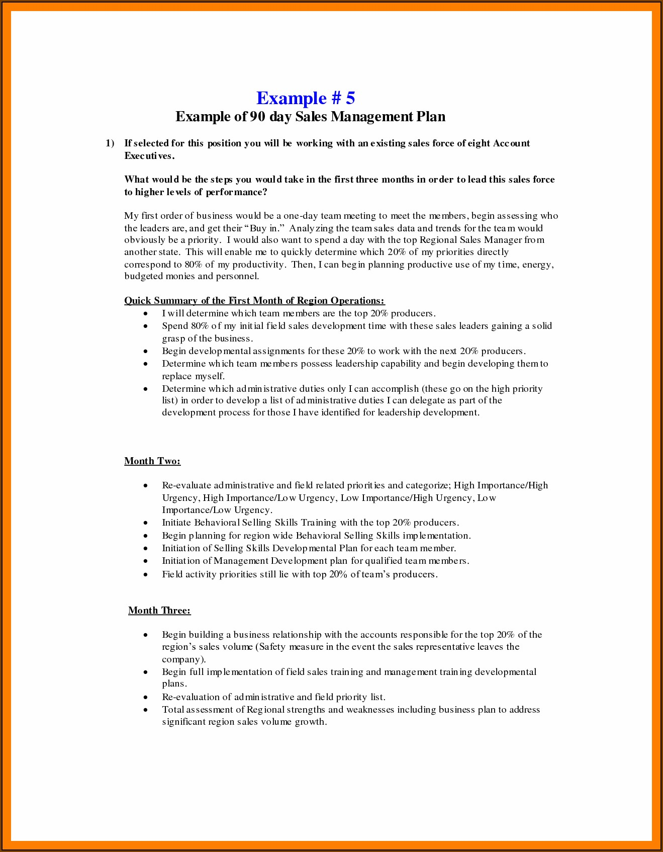 30 60 90 Day Sales Plan Template Free Sample
