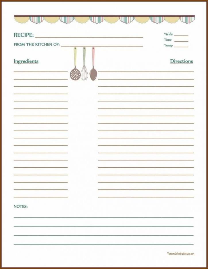 4x6 Recipe Card Template+editable