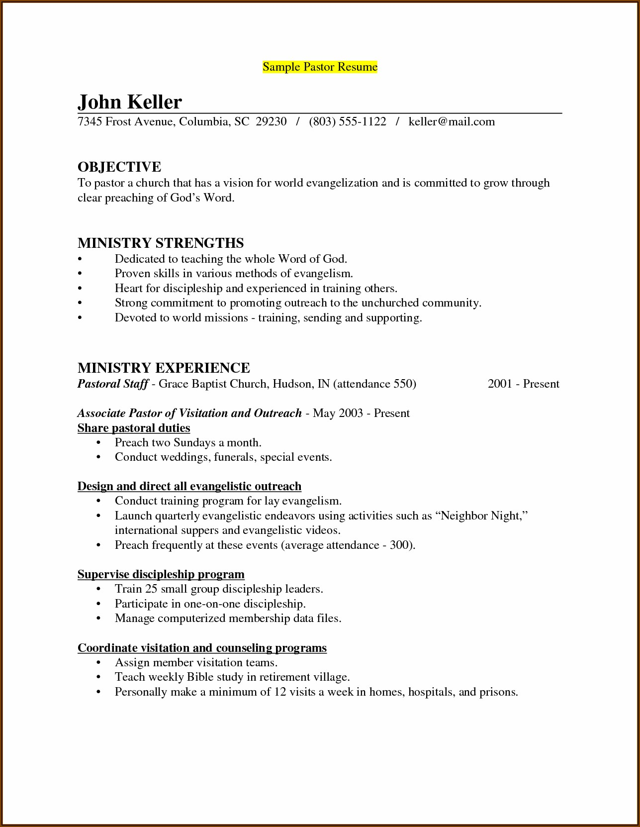 Associate Pastor Resume Template