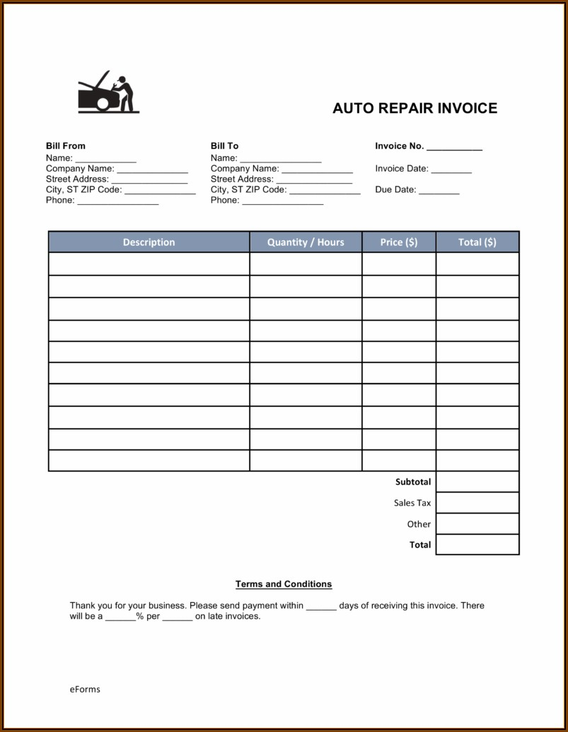 Automotive Invoice Template Pdf