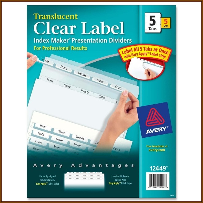 Avery 5 Tab Index Maker Clear Label Dividers Template