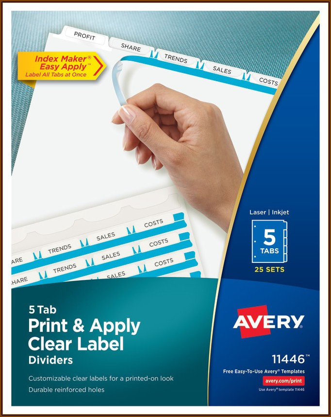 Avery 5 Tab Index Template 11446