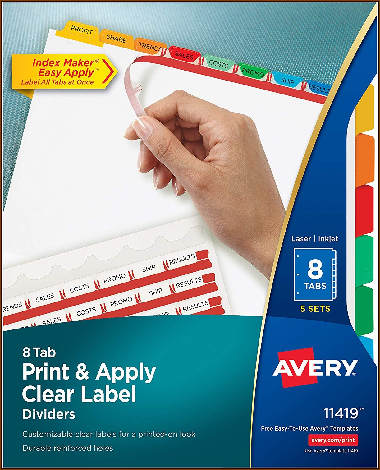 Avery Clear Label 8 Tab Divider Templates