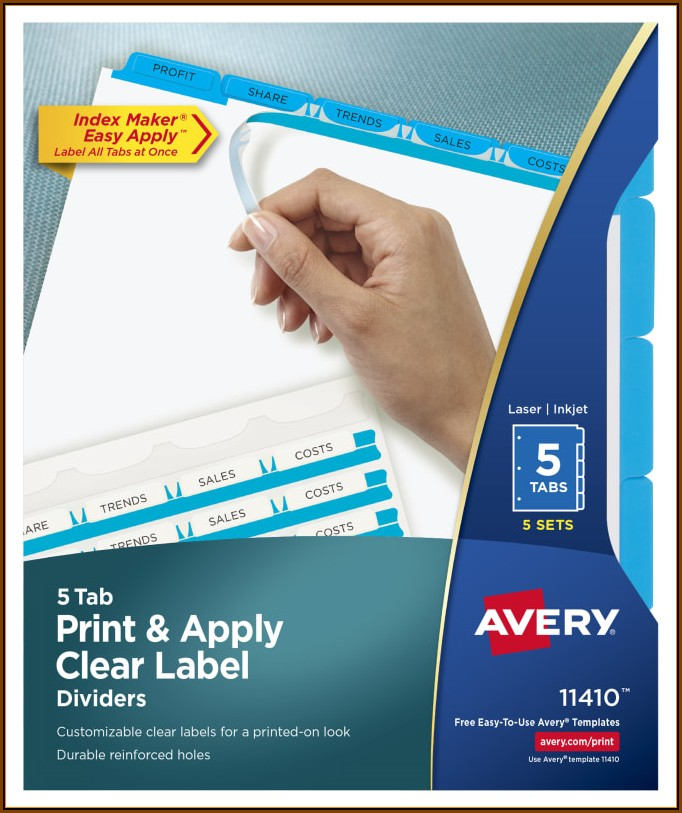 Avery Index Maker Easy Apply 5 Tab Template