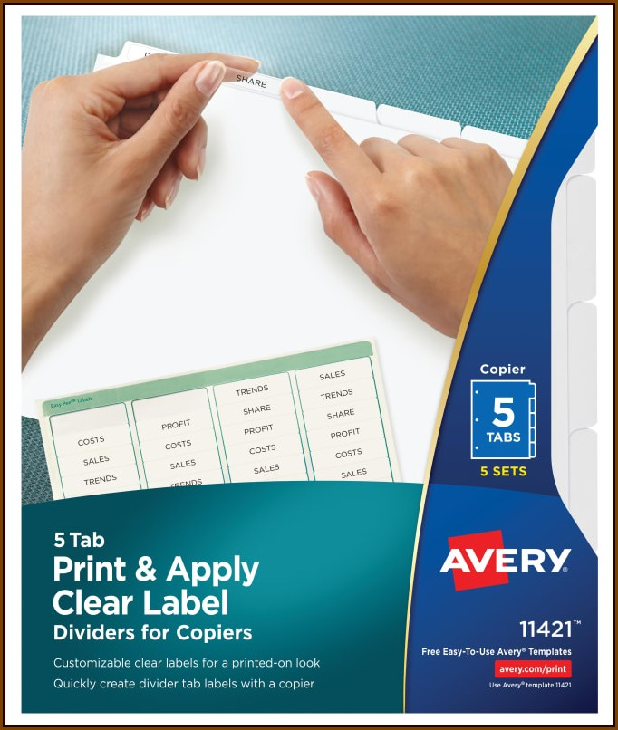 Avery Printable Divider Tabs Template