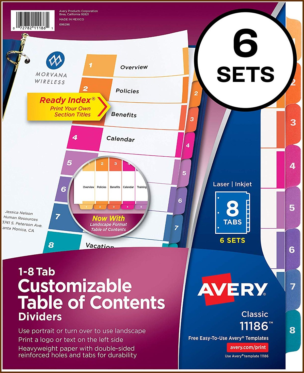 Avery Ready Index Template 8 Tab Color