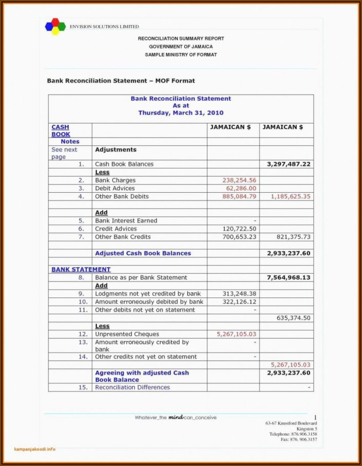 Balance Sheet Reconciliation Template Xls