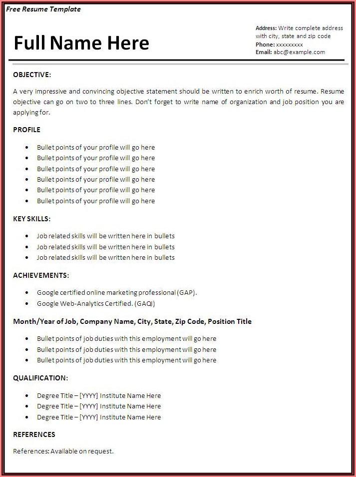 Basic Job Resume Templates