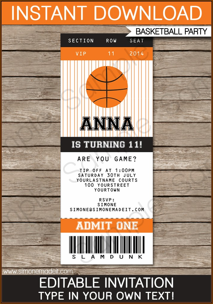 Basketball Banquet Invitation Template