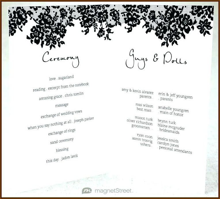 Bi Fold Wedding Program Templates Free