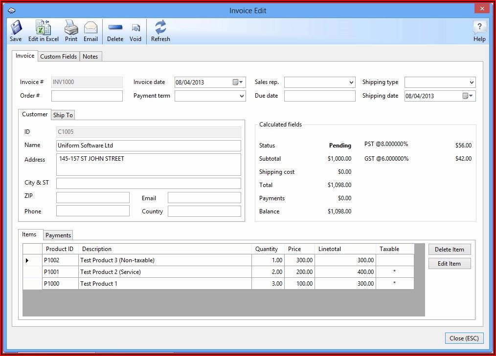 Billing Sample Excel