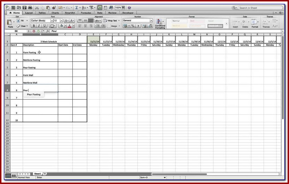 Billing Schedule Template Excel