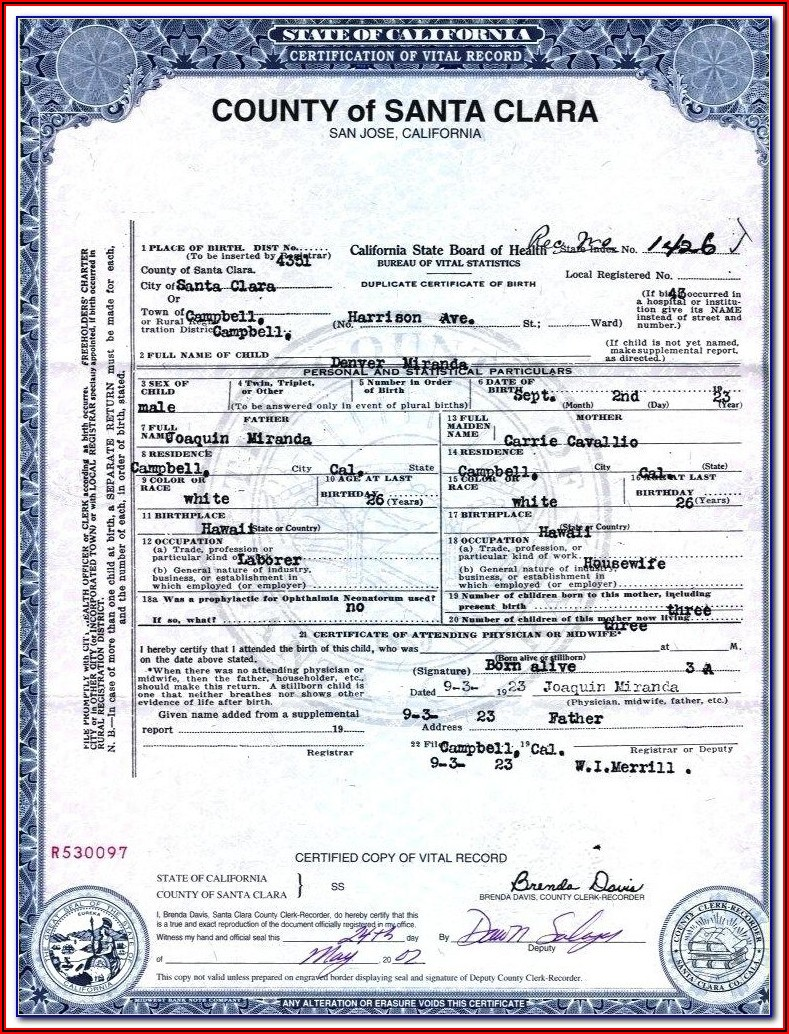 Birth Certificate Translation Template For Immigration