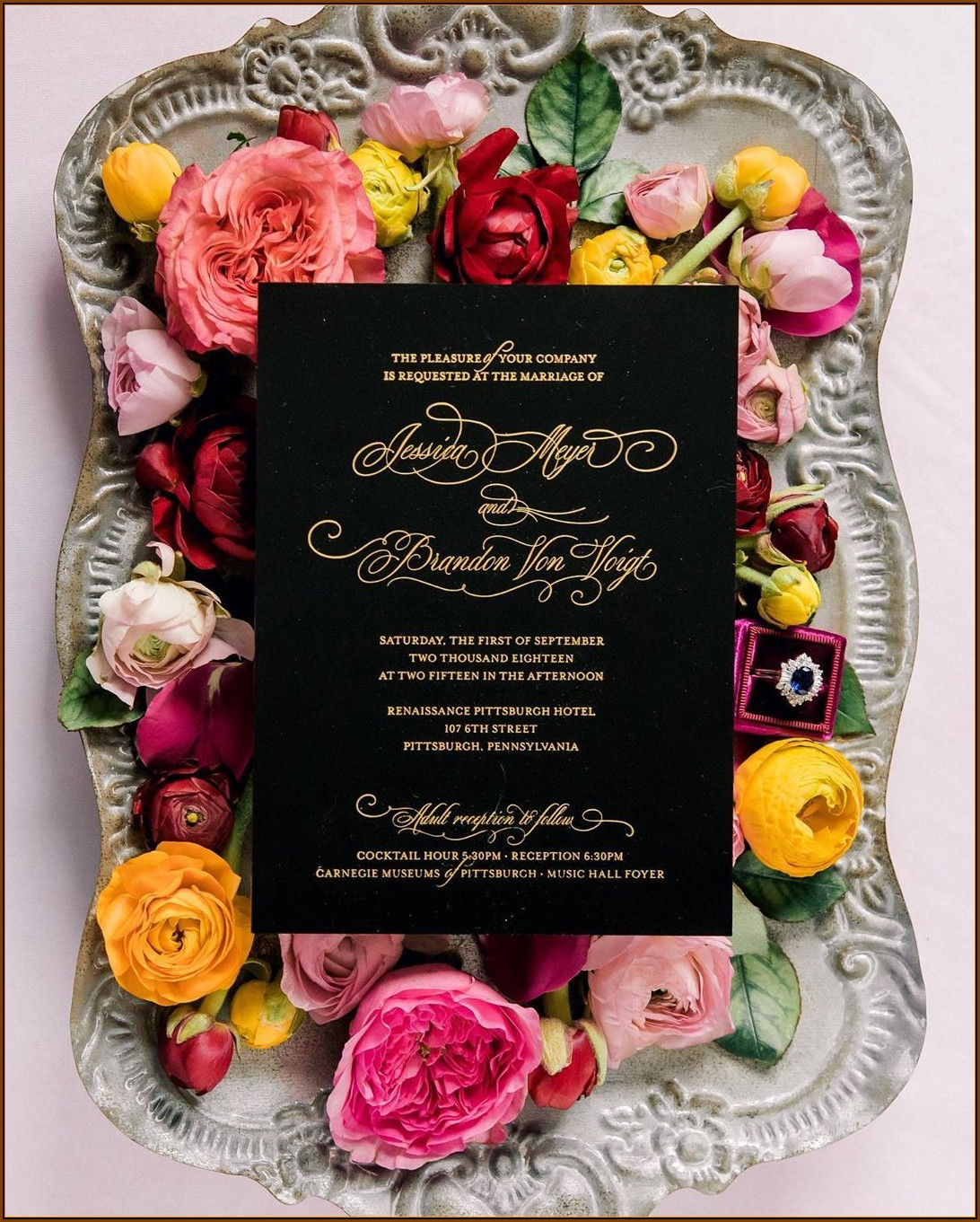 Black And Gold Invitation Designs