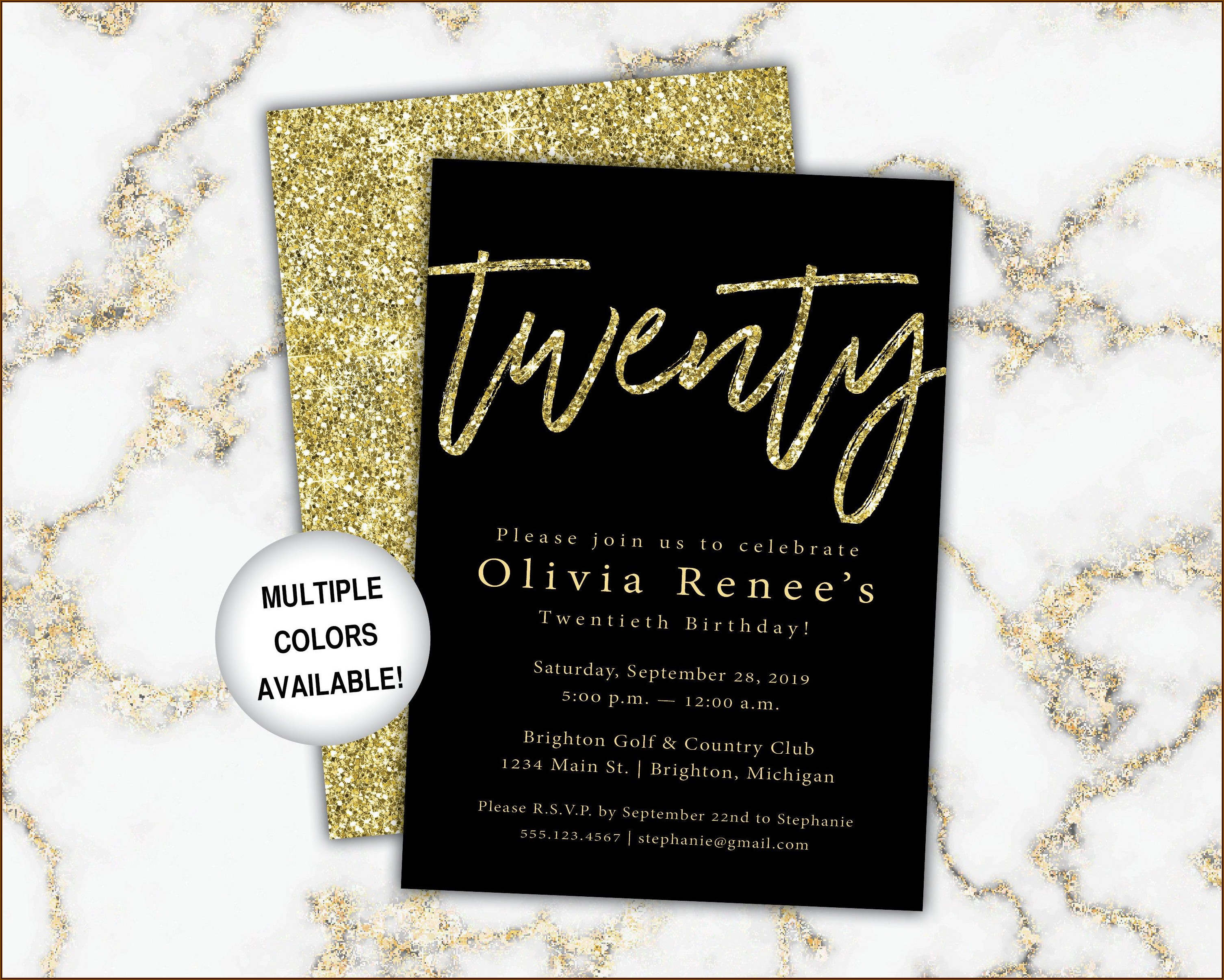 Black And Gold Invitation Template