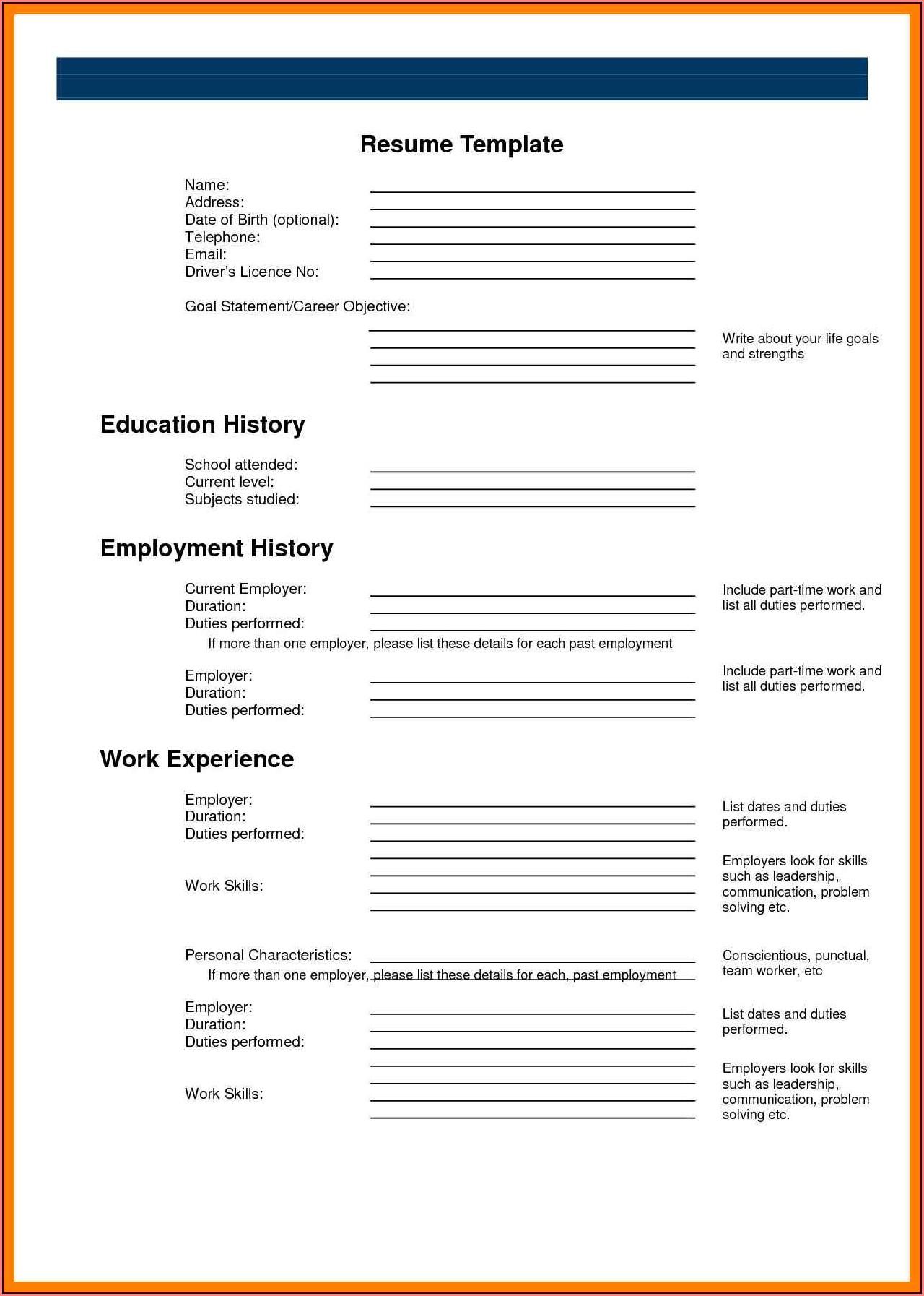 Blank Resume Printable