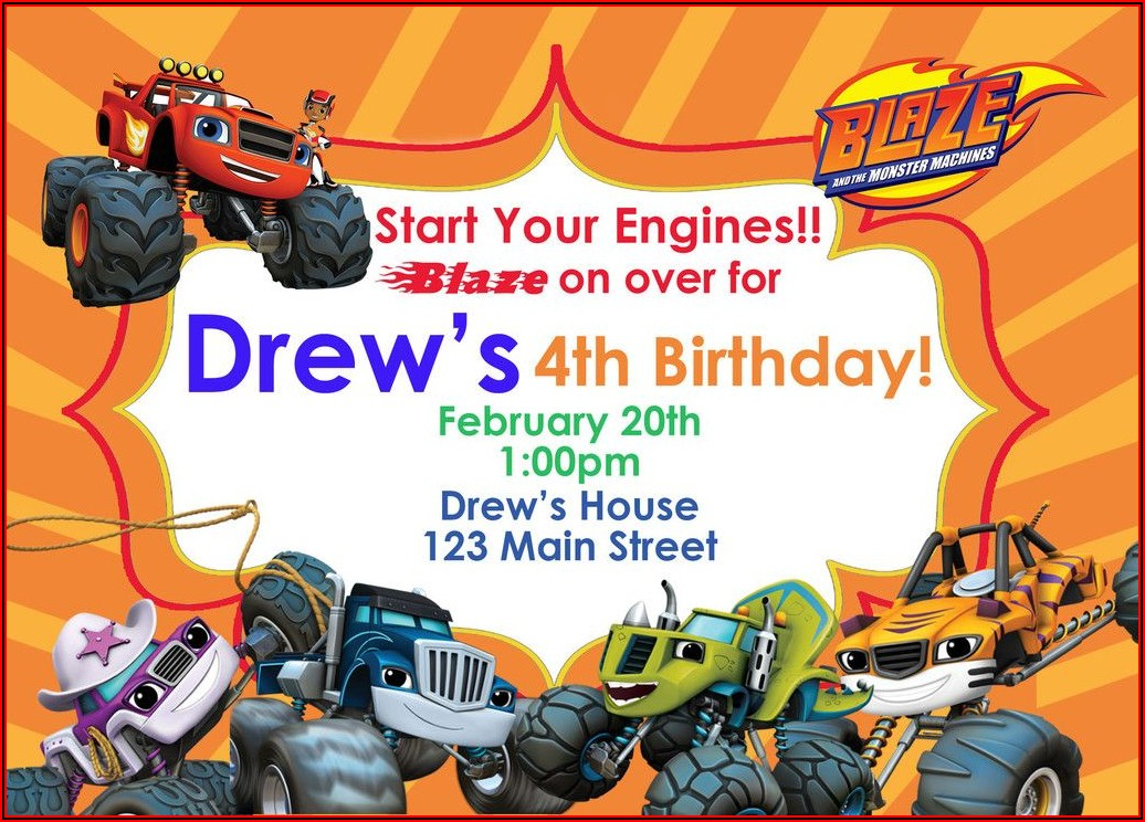 Blaze And The Monster Machines Birthday Invitations Templates
