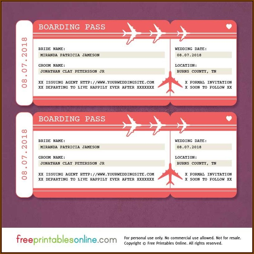 Boarding Pass Birthday Invitation Template Free