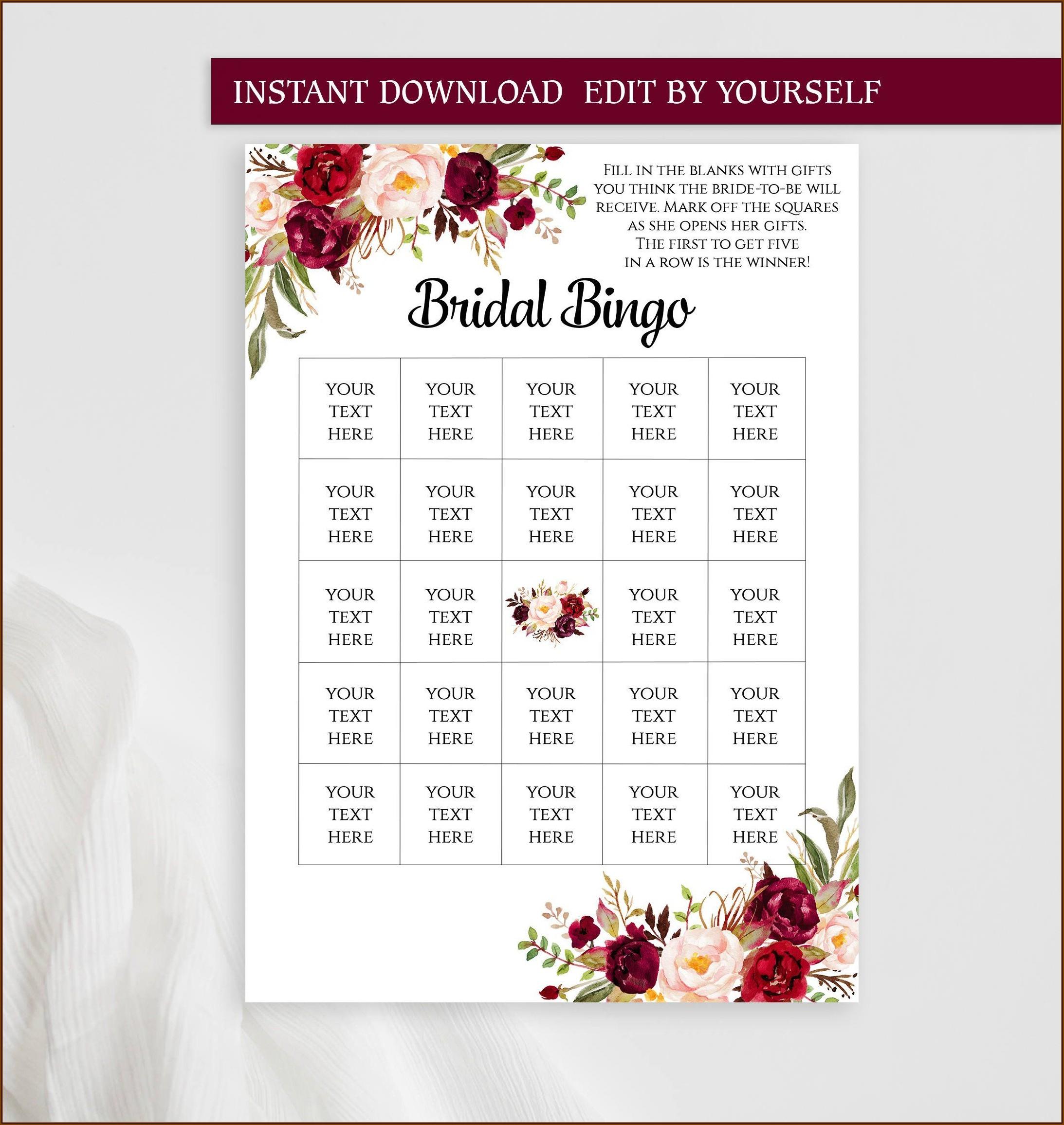 Bridal Bingo Template Pdf
