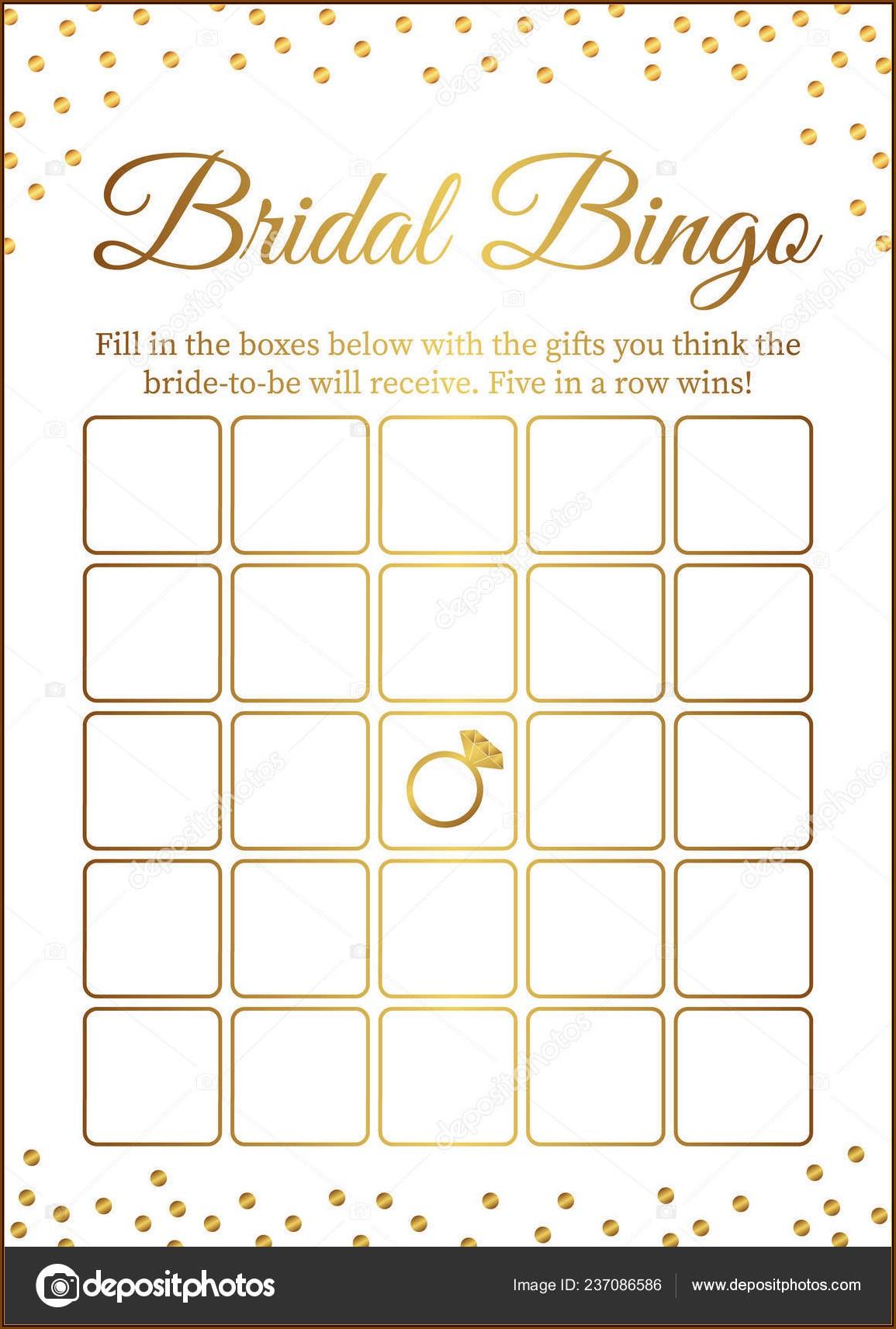 Bridal Bingo Template