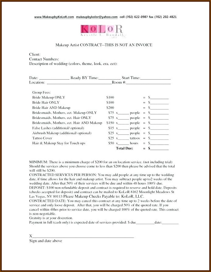 Bridal Hair And Makeup Contract Template