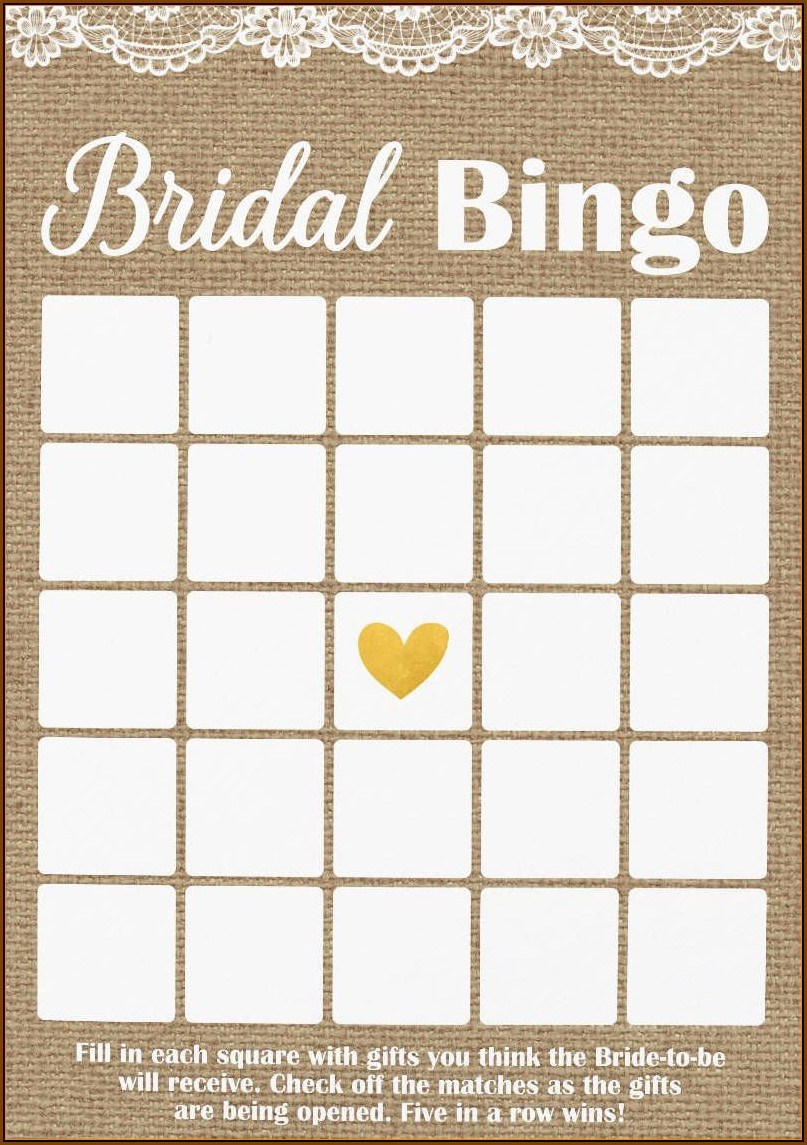 Bridal Shower Bingo Template Microsoft Word