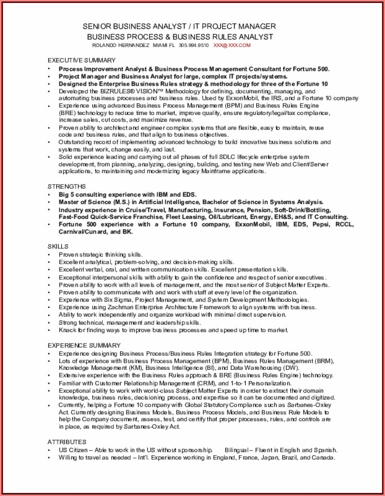 business analyst capital market sample resume
