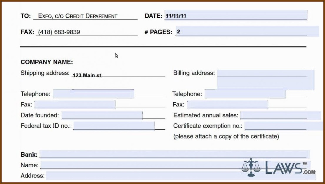 Business Credit Application Template Pdf Free
