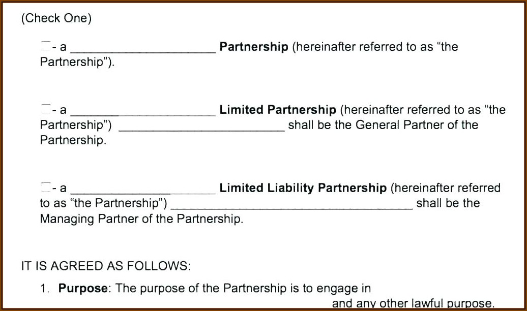 Business Partnership Agreement Template Uk Free