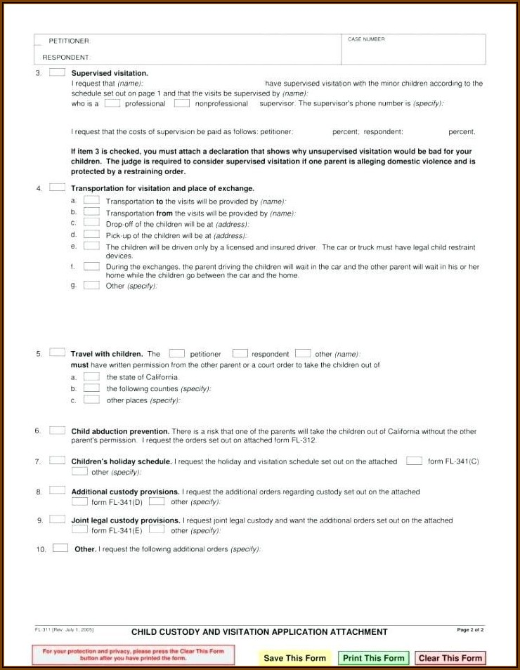 California Child Custody And Visitation Agreement Template