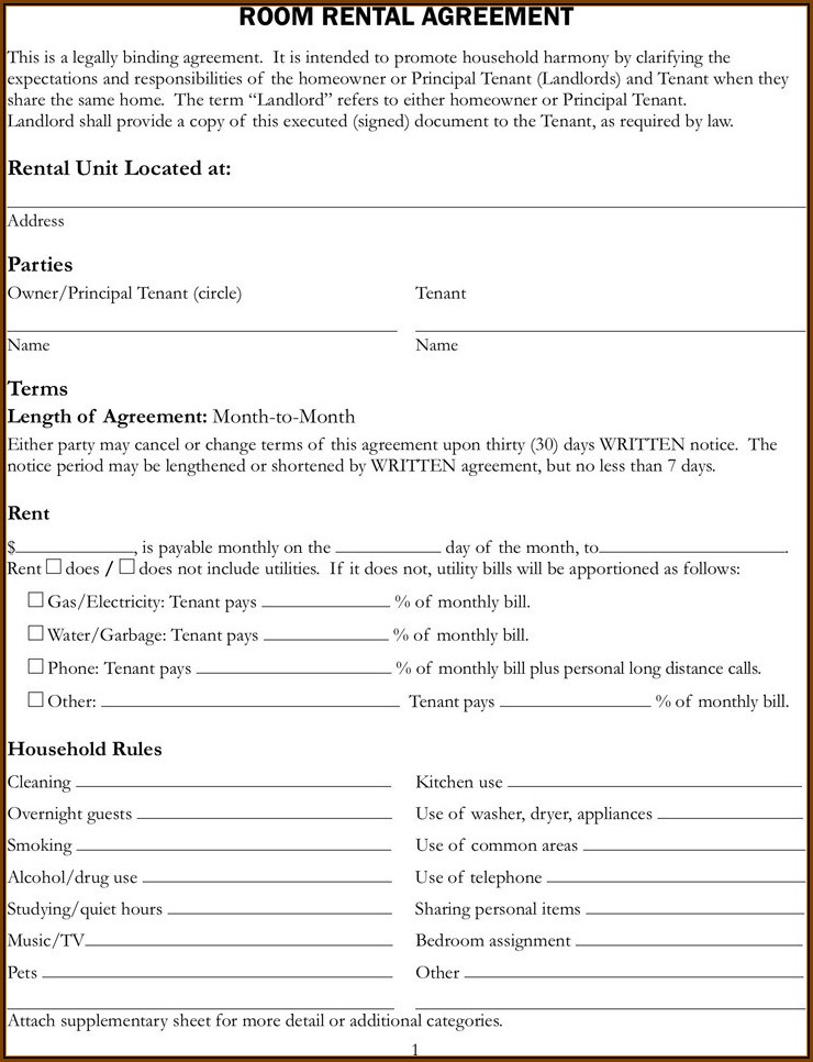 California Rental Agreement Template Free