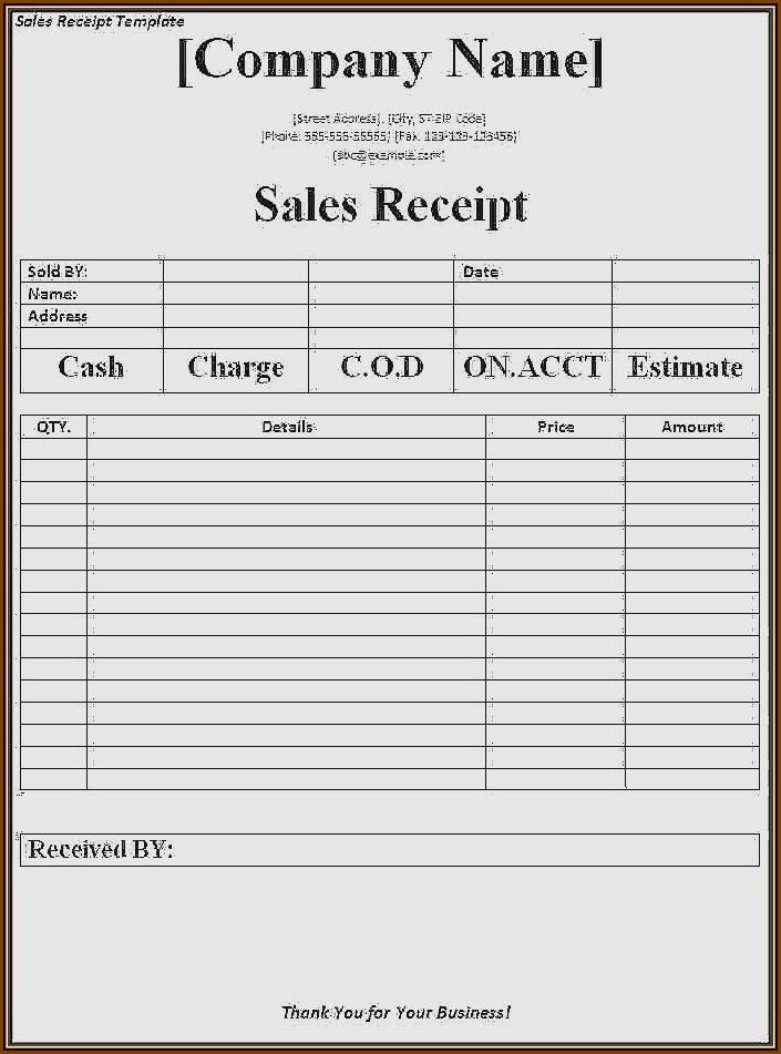 Car Rental Receipt Template Download