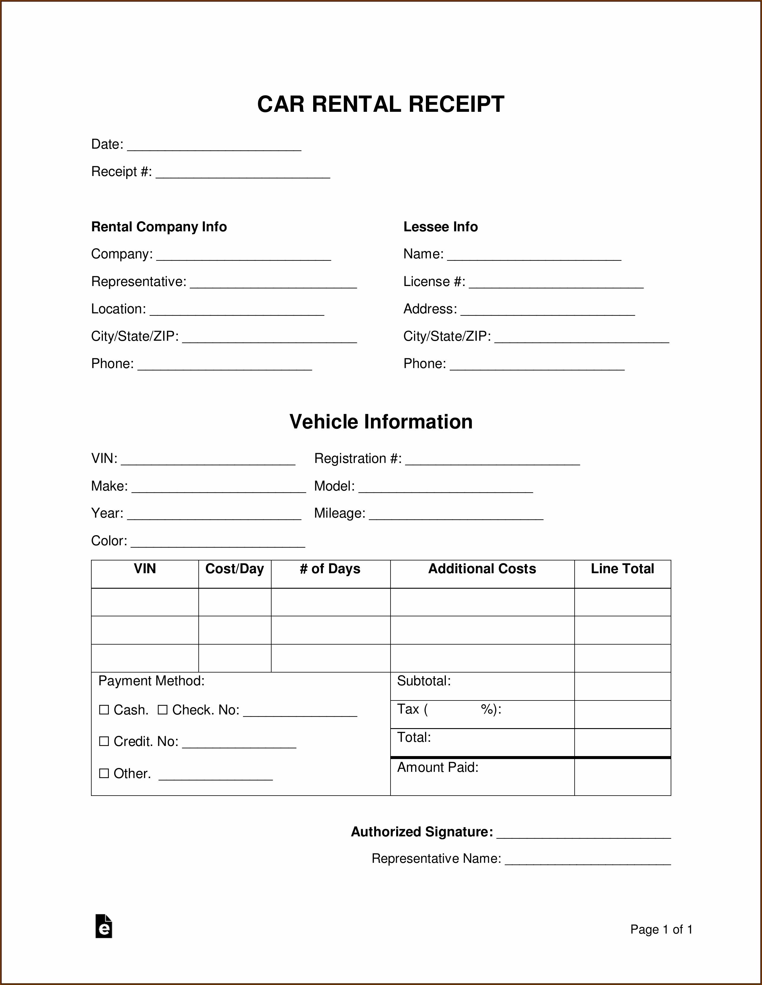 Car Rental Receipt Template Pdf