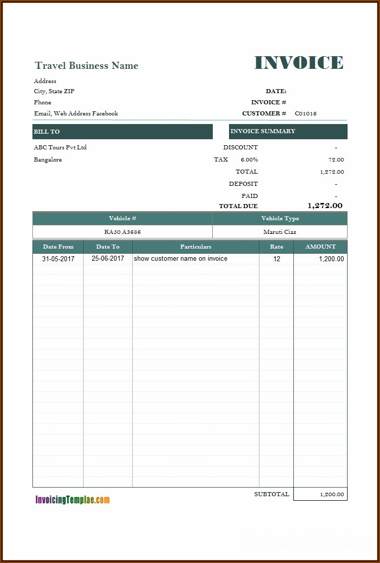 Car Rental Receipt Template Word Document