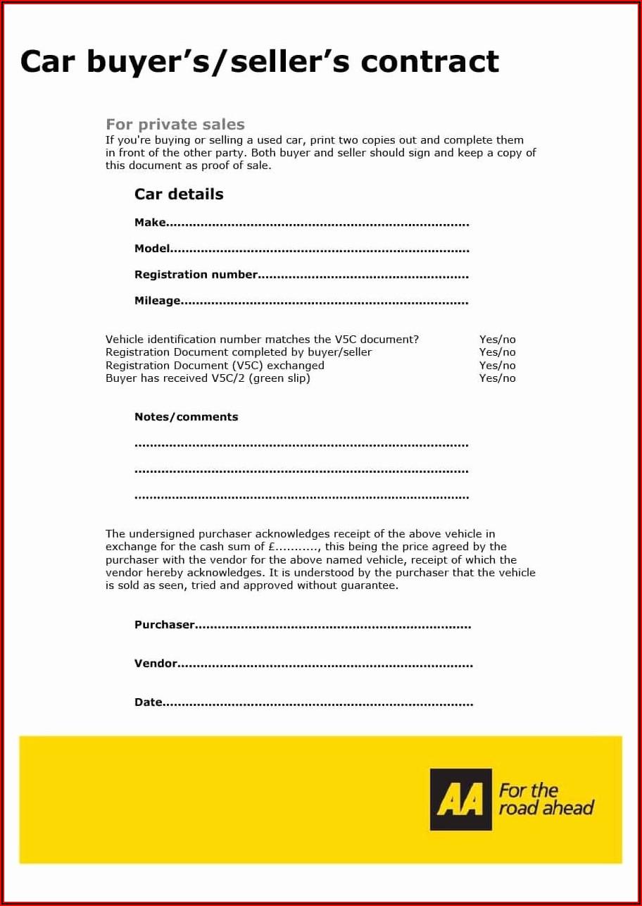 Car Sale Agreement Template