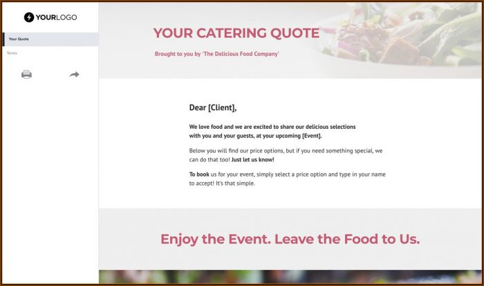 Catering Price Quote Template