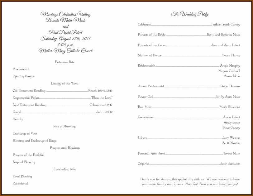 Catholic Wedding Mass Program Examples