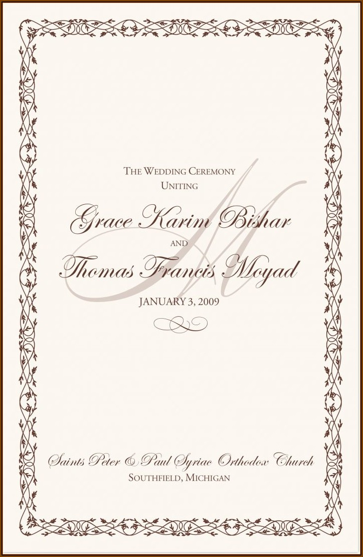 Catholic Wedding Mass Program Template Word